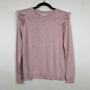 J Crew Ruffle Shoulder Blush Pink Sweater